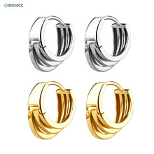 Kikichicc 100% 925 Sterling Silver Three Circle Thick Hoops Huggies Circle Large Irregular Women Rock Punk Jewelry Fashion