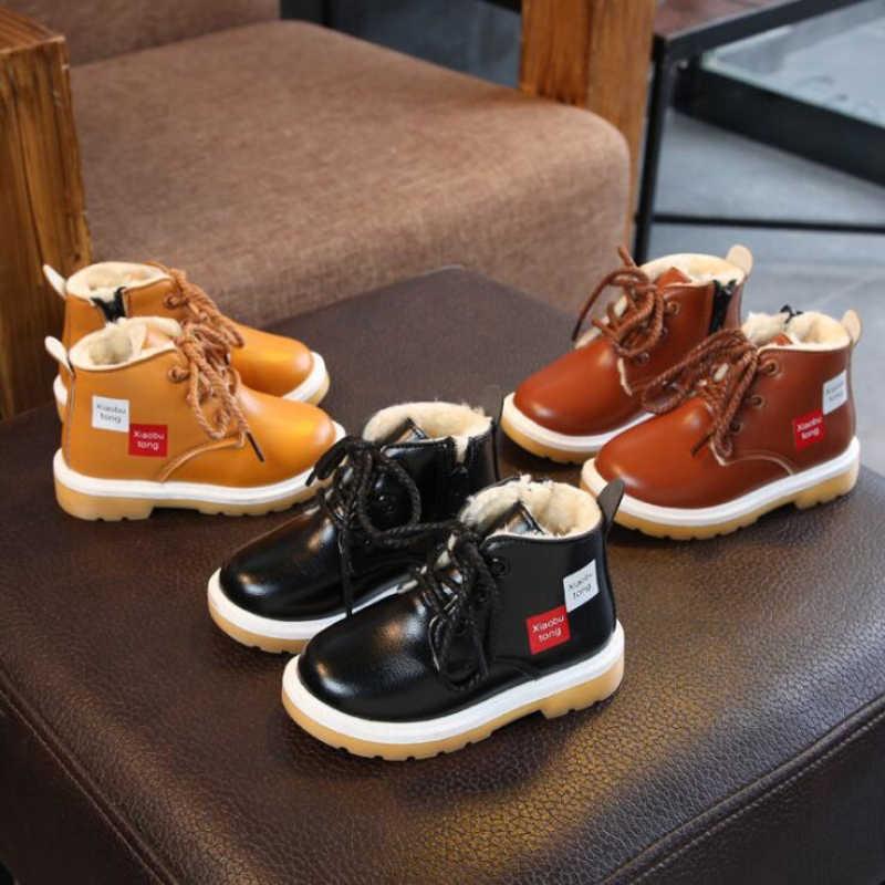 חם חורף עור מגפי ילדי כותנה נעלי עיבוי צמר ילד של שלג מגפי בנות הוכחת מים נעליים