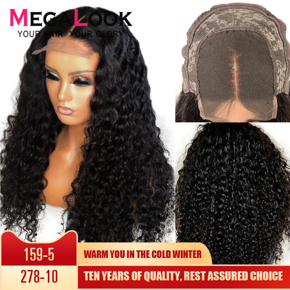 Closure Wig Deep Wave Wig 4*4 Lace Closure Human Hair Wig 180 Density Remy 30inch Brazilian Wigs For Black Women Megalook Hair