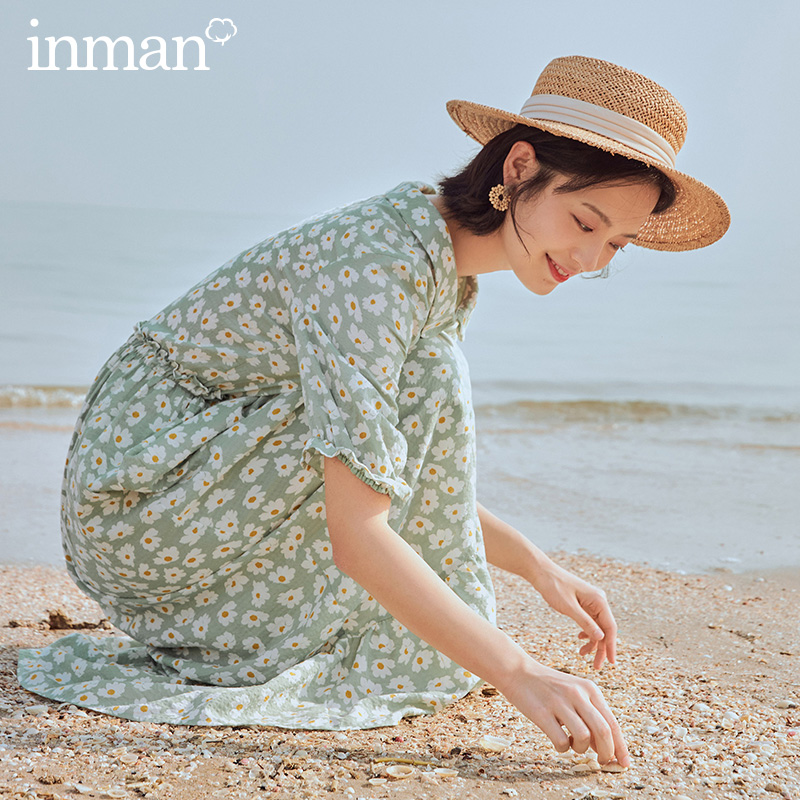 INMAN 2020 Summer New Arrival Literary Shivering Nipped Waist Slimmed Bowknot Short Sleeve Dress