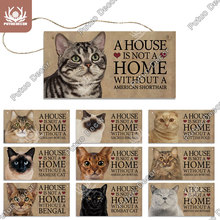 Putuo Decor Cat Plaque Wood Signs Lovely Decorative Plaque Wood Hanging Sign for Pet Cat Houses Decor Wall Decor Home Decoration