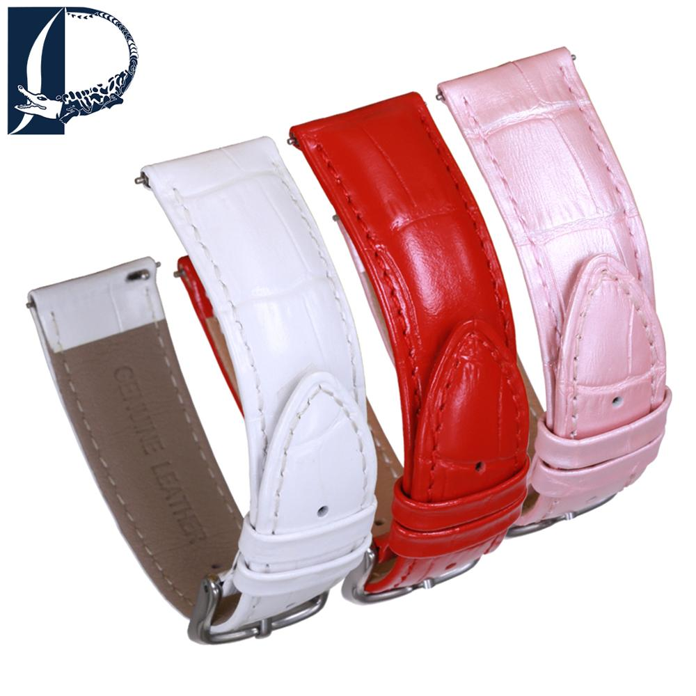 Pesno Beauty Calf Skin Bamboo Grain Genuine Leather Watchband Shinny Red White Pearl Pink With Pin Buckle Women Wrist Strap