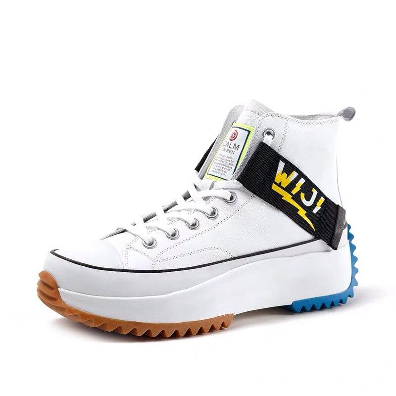 Nouveau haut haut plate forme baskets noir unisexe en cuir véritable semelle épaisse chaussures homme hauteur augmenter chaussures grosses chaussures de marche hommes - 6