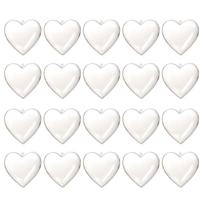 20PCS Herz Form Kugeln Kunststoff Transparent Weihnachten Decor 2021 DIY Home
