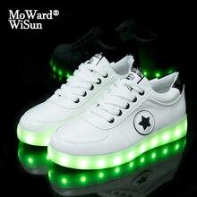 Boyutu 27 40 moda iyi çocuk LED parlayan aydınlık Sneakers ile Light Up ayakkabı çocuk Boys kız sepetleri LED terlik 36