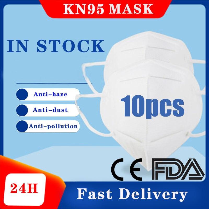 10pcs N95 FFP2 Mask Dustproof Face Mask PM2.5 95% Filtration Bacterial Protective Mask Respirator N95 FFP3 Mouth Masks