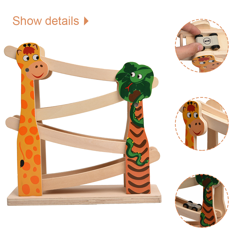 4 Layers Ramp Racer Click Car Slider Race Track Wooden Toy For Kids Gift Toys For Children Early Education Activity Play Toys