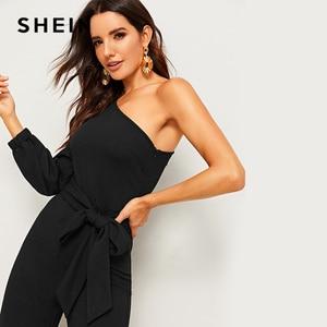 Image 3 - SHEIN สีดำหนึ่งไหล่แขนแยกขากว้าง Belted Maxi Jumpsuit ผู้หญิงฤดูใบไม้ร่วงซิปด้านข้างขากว้าง Abaya เซ็กซี่ jumpsuits