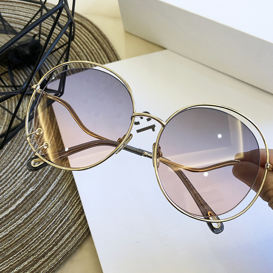 Double Circle Pendant Sunglasses For Women Luxury Brand Round Hollow Out Sun Glasses Female Elegant Gradient Eyewear Ins Shades