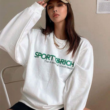 Calelinka American Vintage Sporty&Rich Letters Print White Cool Women Pullover Round Neck Cotton Loose Sprot Lover Sweatshirt