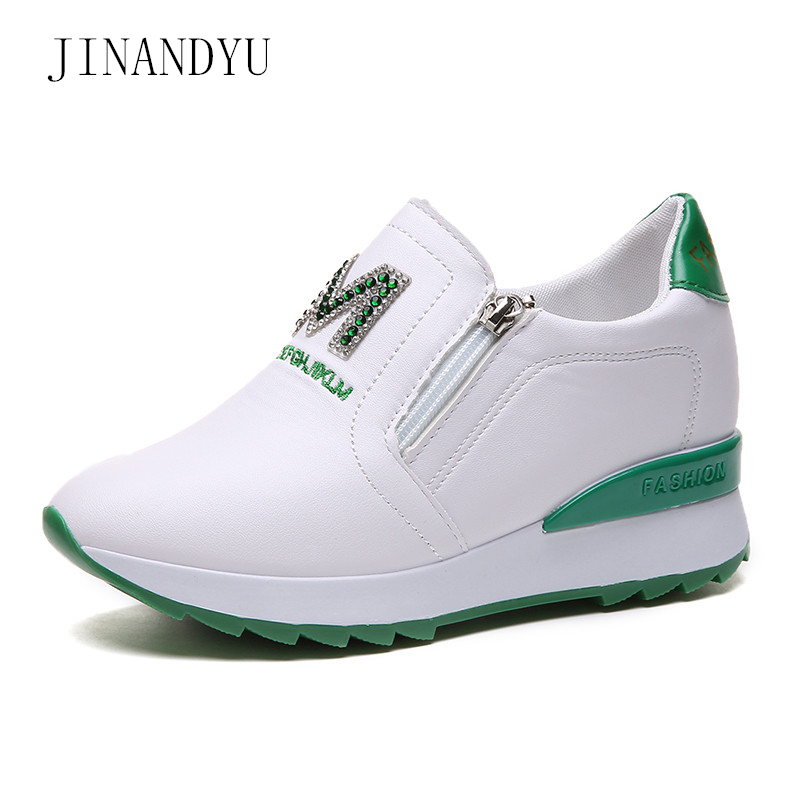 Ladies Trainers White Leather Shoes Woman Platform Height Increasing Sneakers Wedges New Rhinestone Womens Slip on Sneaker Shoes