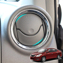 Para nissan versa almera latio a/c anel de ventilação ar chrome capa guarnição estilo do carro acessórios 2012 2013 2014 2015 2016 2017 2018
