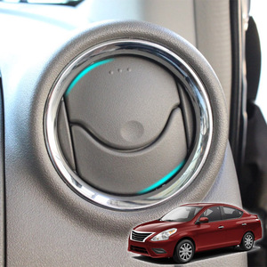 Image 1 - לניסן Versa Almera Latio/C אוויר Vent טבעת כרום כיסוי לקצץ רכב סטיילינג אביזרי 2012 2013 2014 2015 2016 2017 2018