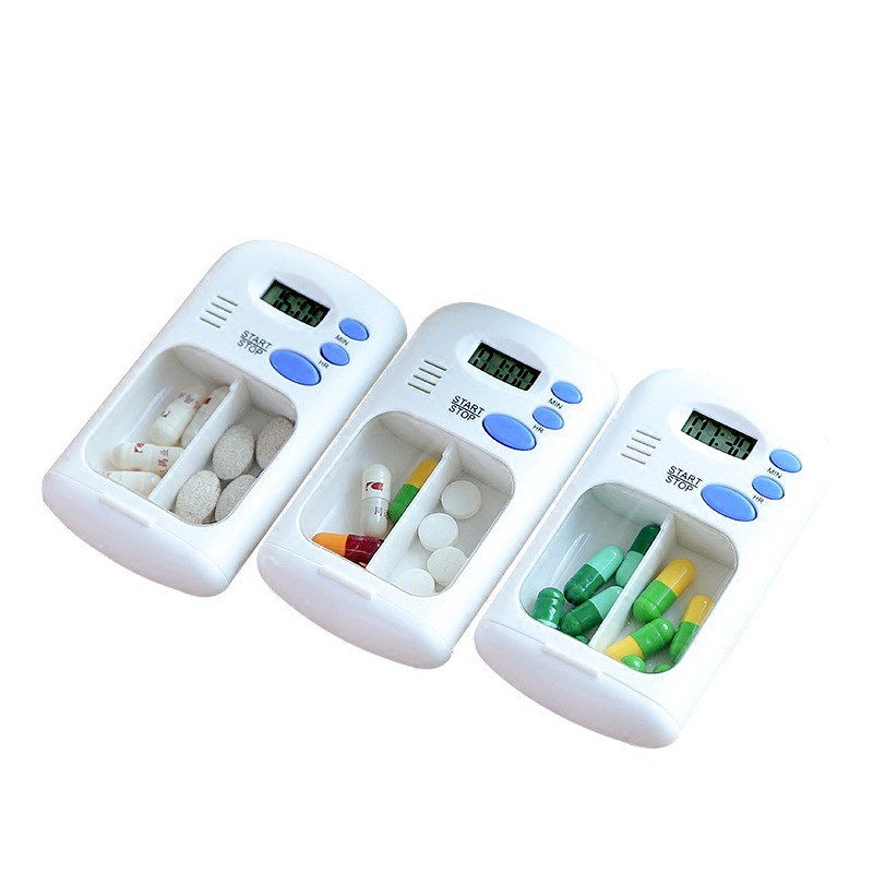 Mini Portable Pill Reminder Drug Alarm Timer Electronic Box Organizer LED Display Alarm Clock Remind Small First Aid Kit