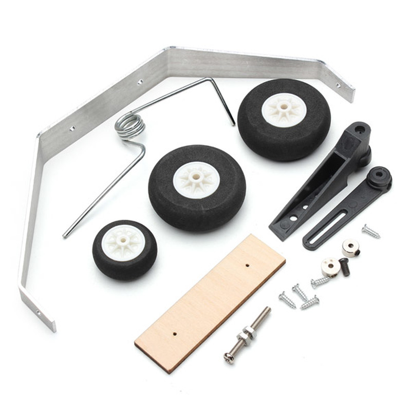 Aluminum Alloy Taildragger Tricycle Landing Gear w/Steel Ring Tail Wheel For RC Airplane Model Fix wing image