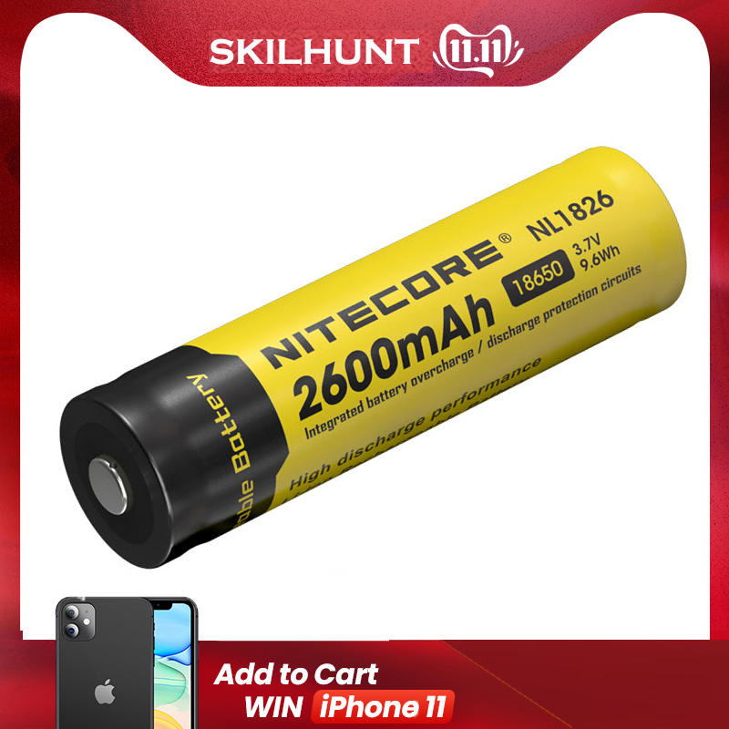 Free Shipping Nitecore NL1826 2600mAh 18650 3.7V Rechargeable Li-ion Battery (NL1826)
