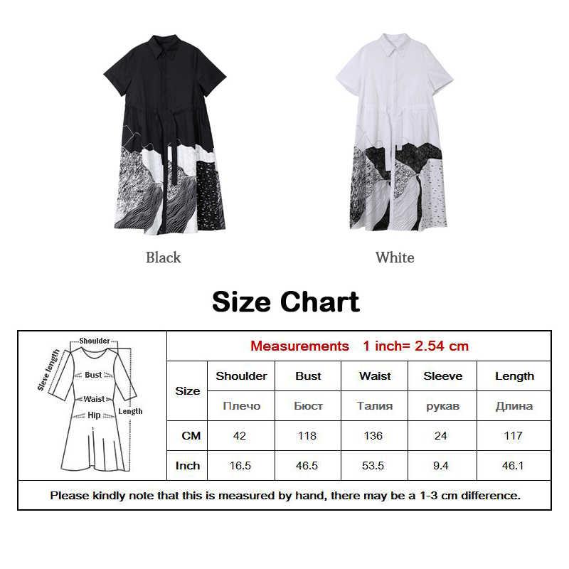 חדש 2020 קוריאני סגנון נשים קיץ שחור ארוך Midi חולצה שמלה עם אבנט אונליין דש גבירותיי מזדמן ללבוש שמלות Robe femme 5128
