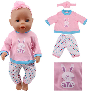 Doll Cute Rabbit Two Pieces Clothes Suitable 18 Inch American Dolls And 43cm Baby New Born Dolls, Our Generation, Gifts For Girl