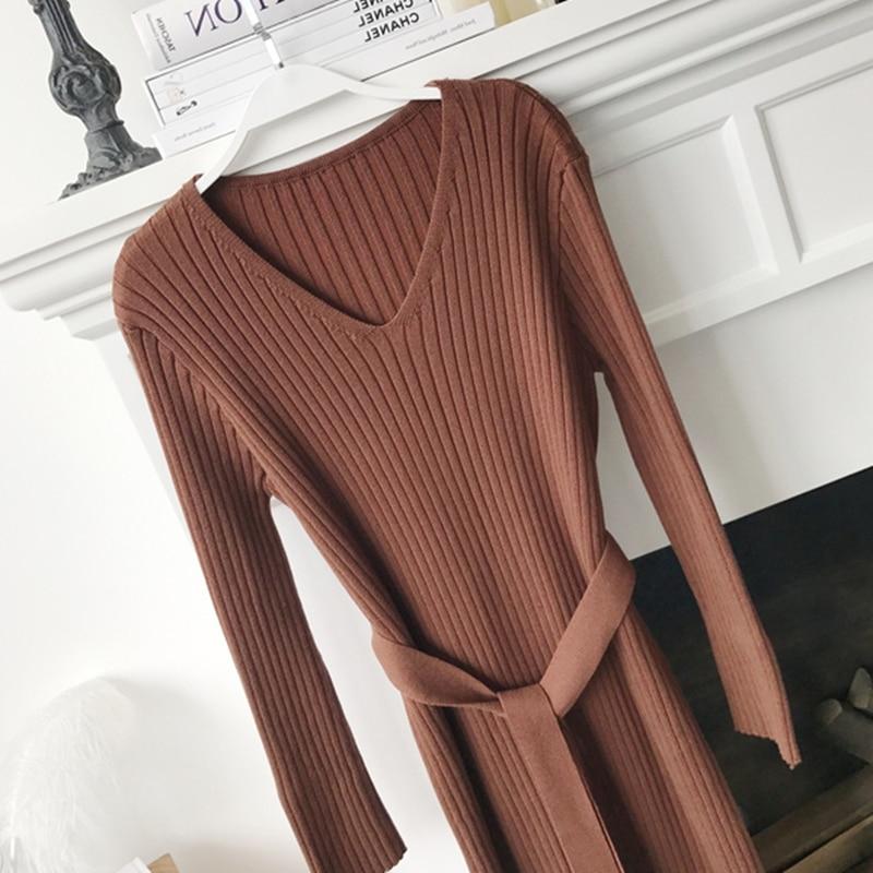 Korean Fashion Sweater Dress Women Knitted Sweaters Dresses Elegant Women High Waist Sweater Dress Plus Size Vestidos De Fiesta 34