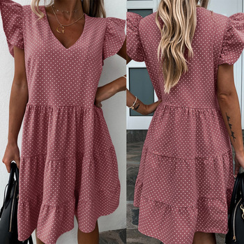Summer Sweet Princess Dress V-neck Sweet Loose Dress Long Skirt With Puffed Sleeves Fashionable Street Casual Dresses brown v neck long sleeves loose plunge t shirt dress
