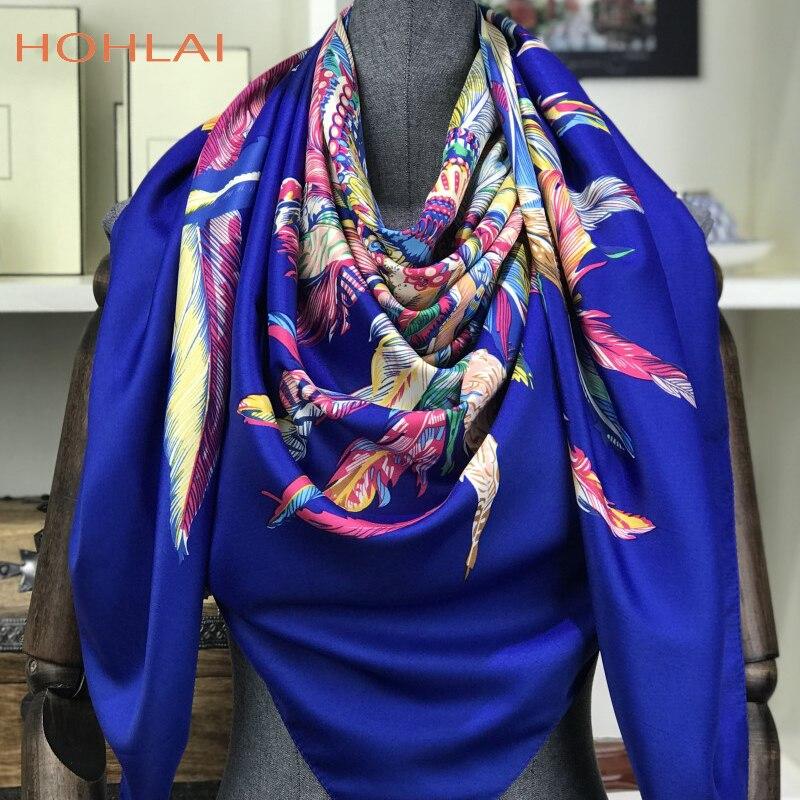 100% Twill Silk Scarf 130x130cm Women Luxury Square Scarves & Wraps Female Neckerchief Large Bandana Indian Feather Silk Foulard