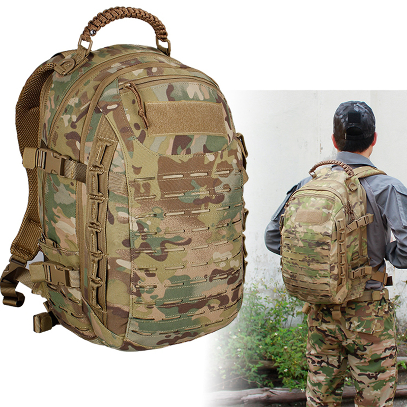 Tactical Military Backpack Hiking Outdoor Hunting Bag EDC Tactical Gears Laser Cut Molle PALS Multicam Bag 25L Camping Sport Bag image