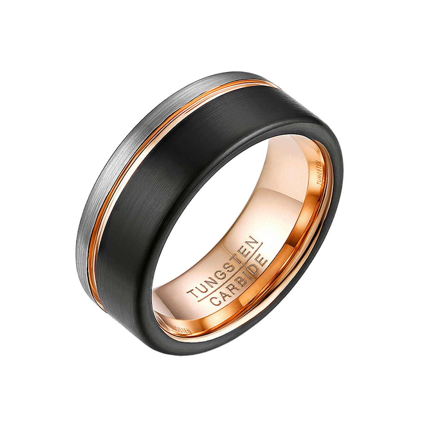 8mm Men or Women Tungsten Carbide Gold Brush Shiny Groove Wedding Band Ring