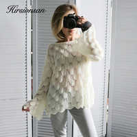 Hirsionsan Elegant Sweater Women 2019 Casual Fashion Loose Women Sweaters and Pullovers Cute 3D Pink White Jumper Sueter Mujer
