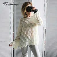 Suéter elegante Hirsionsan para Mujer 2019 moda Casual suéteres y jerseys sueltos para Mujer lindo 3D Rosa Blanco Jumper Sueter Mujer