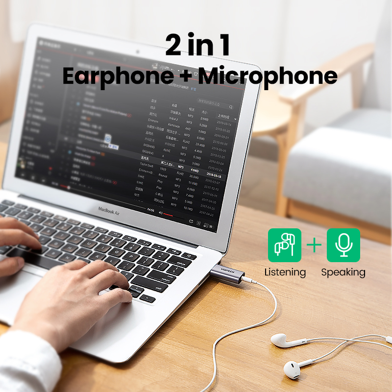 Ugreen Sound Card 2-in-1 USB Audio Interface External 3.5mm Audio Adapter Soundcard for Laptop PS4 Headset USB Sound Card 2