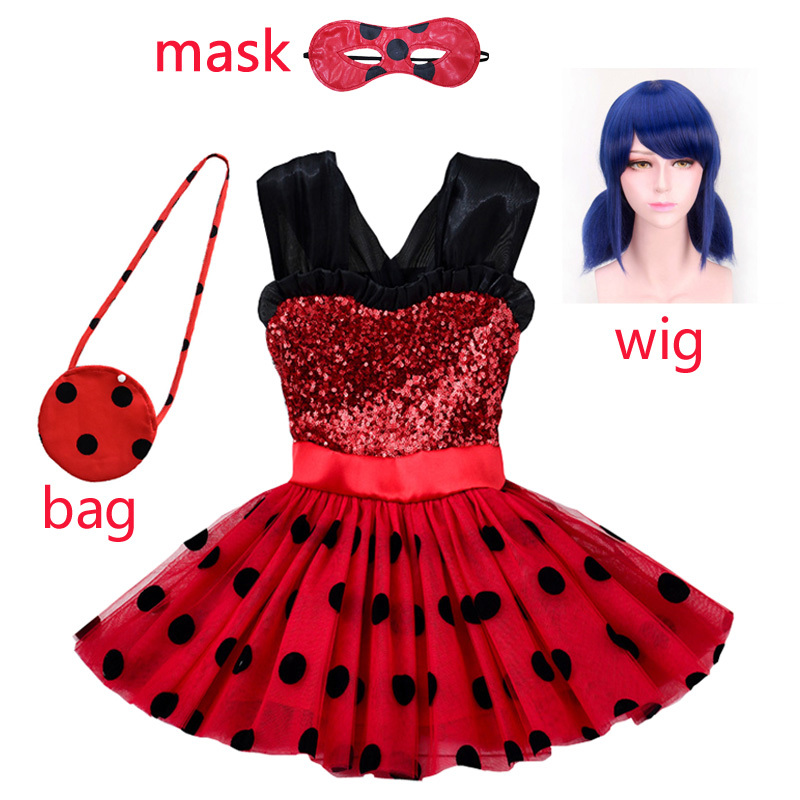 2020 kids Ladybug Cosplay Red Pretty Girls Dress Summer Clothes Lady Bug Party Dress Children's Dot Baby Girls Dresses Costumes