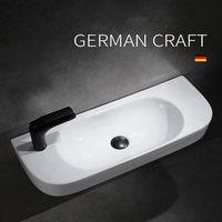 Lavabo de cerámica para baño, lavamanos de mano derecha/izquierda, cuadrado, pequeño, colgado en la pared, montado en la pared, lavabo blanco