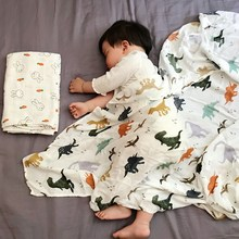 Herbabe Baby Muslin Blankets Bamboo Cotton Swaddle Wrap for Newborn Infant Soft Milestone Blanket Stroller Cover Kids Bed Sheet цена