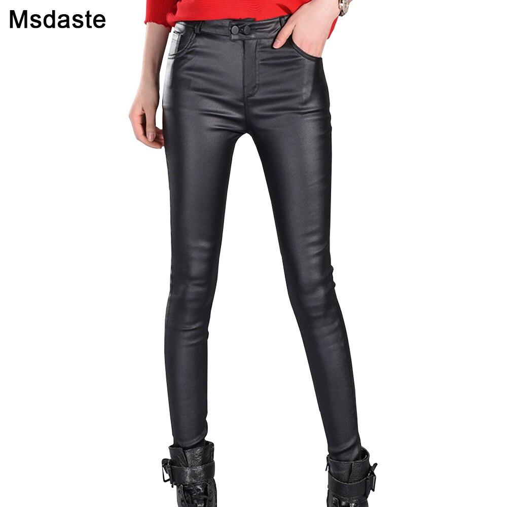 Pants Women Autumn Spring Female Leggings Pantalon Femme Vintage Faux Leather Slim High Waist Casual Ladies Pants Woman Trousers