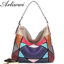 Arliwwi Genuine First Layer of Cow Leather Shoulder Bags Women Luxury New Rivet Real Leather Messenger Handbags For Female GM02