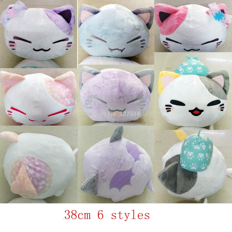 Anime Cartoon Nemuneko Sleeping Cat Soft Plush Doll Toys Cute Genuine Devil Angel Series Neko Styles Cat Pillow Toy Gift 38CM