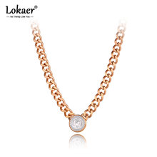 Lokaer na moda titânio aço inoxidável rainha elizabeth pingente colares para mulheres design original grosso corrente jóias n20288