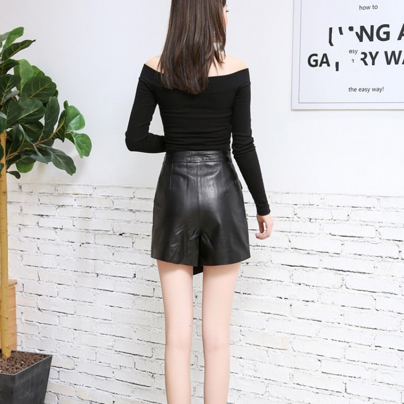 Top Quality Office Ladies Genuine Leather Shorts Skirts Black Buttons High Waist Slim Fit Womens Wrap Sheepskin Leather Shorts