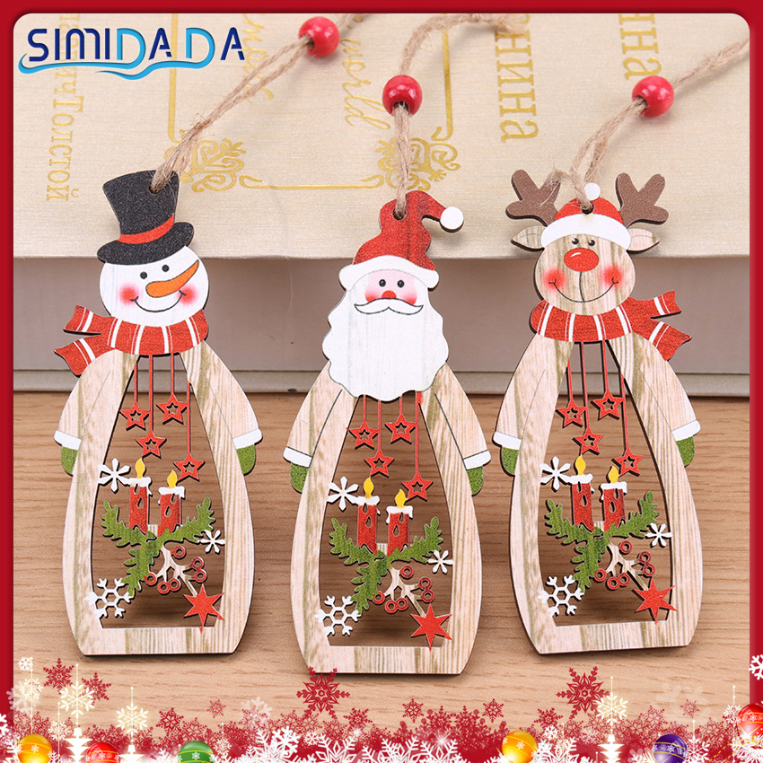 1PC Christmas Pendant Wooden Candle Hollow Santa Claus Christmas Tree Wine Bottle Shape Decorations Happy New Year