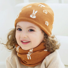 baby hat autumn and winter double collar scarf cap boys girls wool knit warm plus velvet children