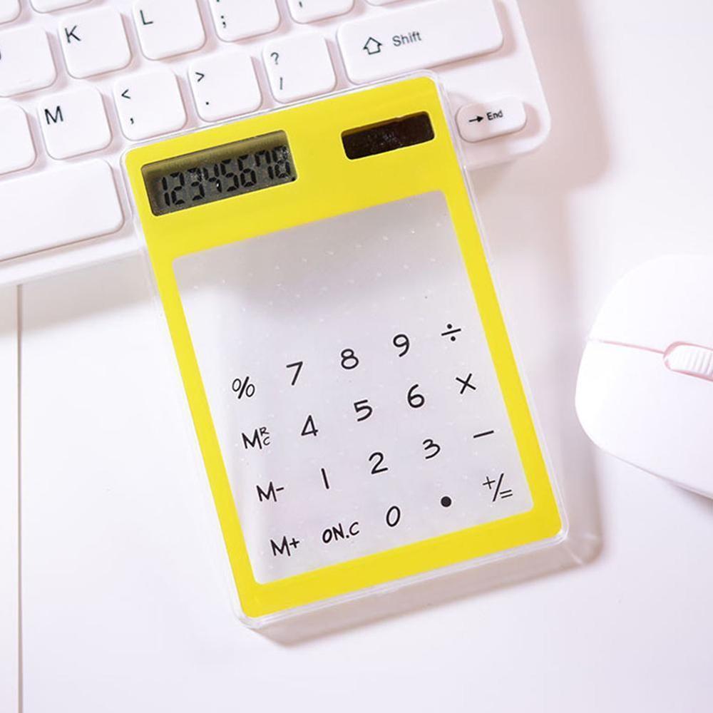 Полезные ЖК-дисплей 8-значный Экран ультра тонкий прозрачный Ясно солнечной CalculatorStationery научный калькулятор для офиса - Цвет: I