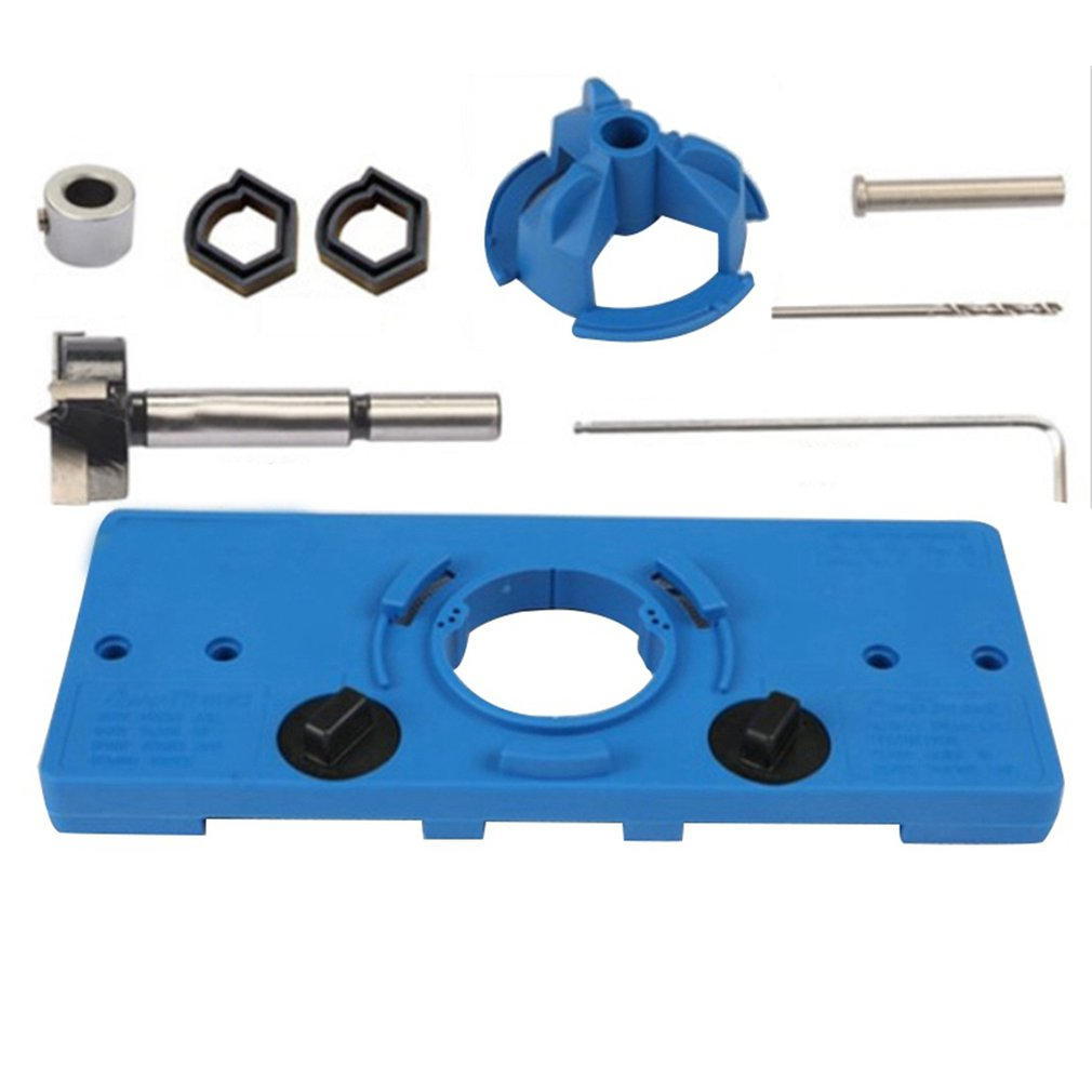 Cup Type Concealed Hinge Clamp Guide Hole Template 35MM Hinge Boring Drill Drilling  Set    Door Hole Tools