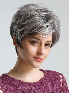 S-Wigs Cube Texture American Natural 50%Human-Hair Gray Short Straight for Fluffy Inhair