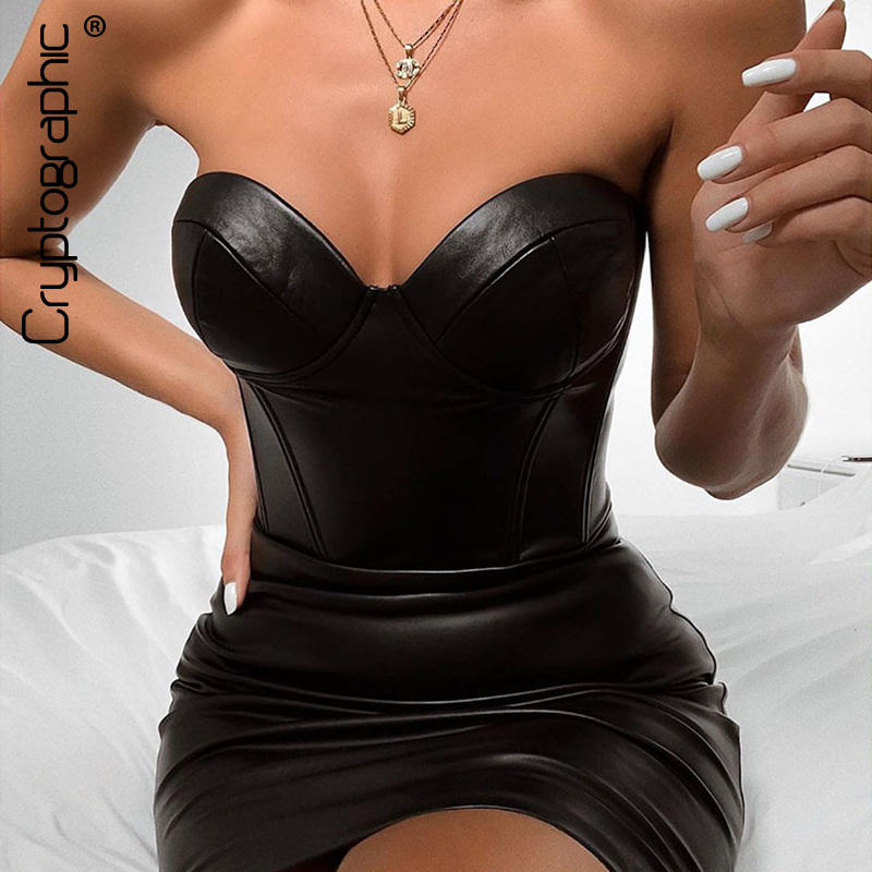 Cryptographic Bodycon Dresses Women Sleeveless PU Leather Slash Neck Strapless Dress Solid Sexy Backless Zipper Mini Dress 2019