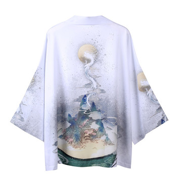 Yukata Kimonos Cardigan Men Japanese Kimono Traditional Unisex Harajuku Asian Japan Dragon Print Top Plus Oversized Quick Dry image