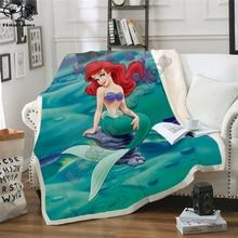 Cartoon Mermaid Blanket Design Flannel Fleece Blanket Printed Children Warm Bedspreads Quilt Throw Blanket Kids Blanket style-4