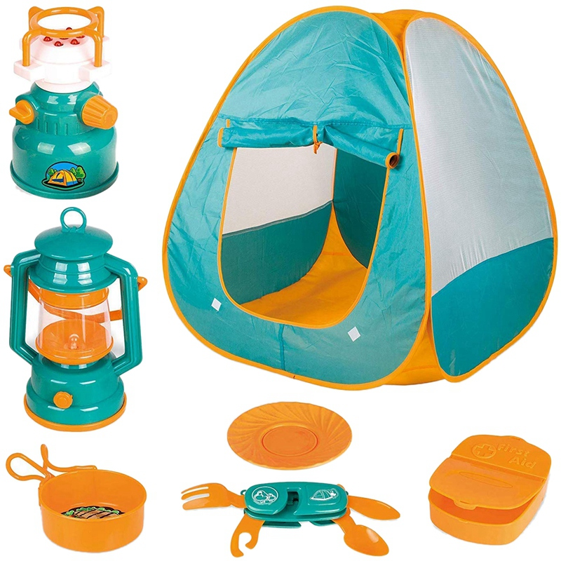 FBIL-7 Pcs Kids Play Tent Kids Fold Up Play Tent With Camping Gear Outdoor Toy Tools Set Kids Toys Parent-Child Interaction Set