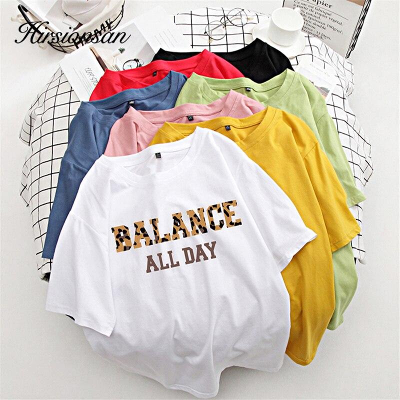 Hirsionsan 100% Cotton 7 Colors Summer Women T Shirt Short Sleeve Leopard Letter Print Female Soft Top Jumper Streetwear M-XXXL