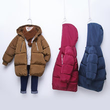 New 2-7-year-old down jacket in the long section of boys and girls thick warm cotton jacket children's clothing baby infant coat(China)