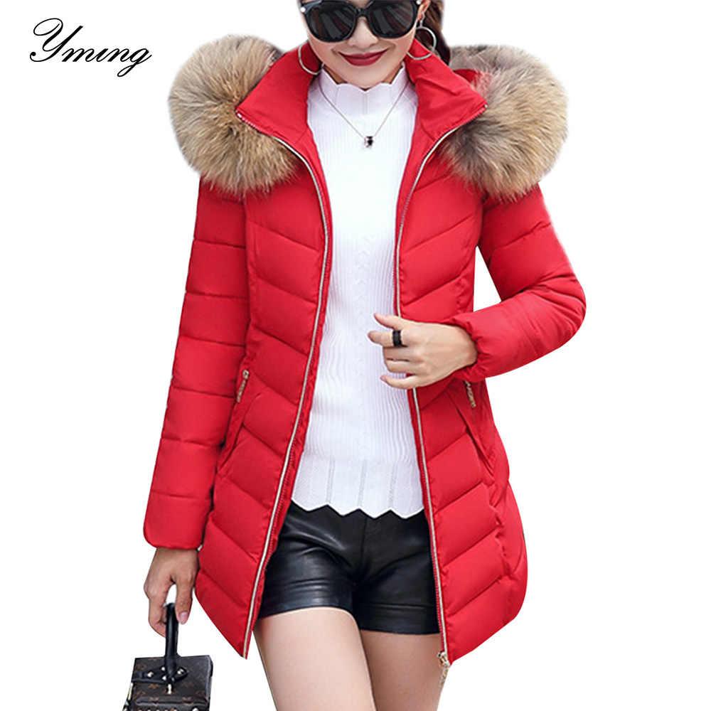 Women Down Warm Jacket Cotton Fur Hooded Parka Ladies Collar Outwear Coat Winter